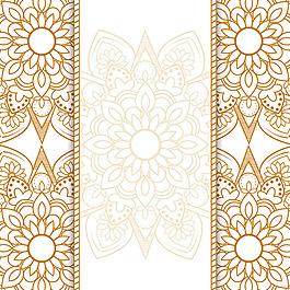 金色精致曼陀羅裝飾花紋邊框背景