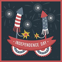 手繪藍灰色紅色煙花插圖美國獨立日背景
