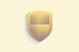 金色盾形立體投影安全主題背景