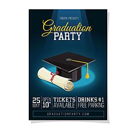 畢業帽畢業派對海報