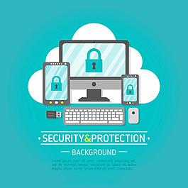 多種網絡設備網絡安全主題云端藍色背景