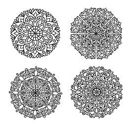 黑白色曼陀羅對稱圖案系列花紋