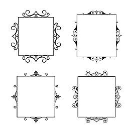 手繪簡約方形裝飾花邊邊框矢量素材