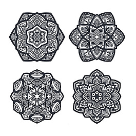 手繪曼陀羅對稱圖形裝飾花紋圖案素材
