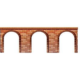 寫實風格紅磚橋洞紅墻大門插圖矢量素材