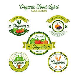 五個圓形生態健康食品餐具標簽圖標