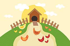 公雞母雞小雞綠色農場背景