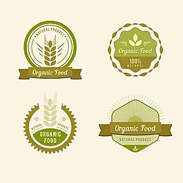 復古風格綠色有機食品貼紙圖標