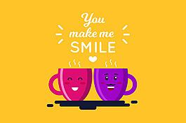 微笑的紅色紫色咖啡杯黃色背景