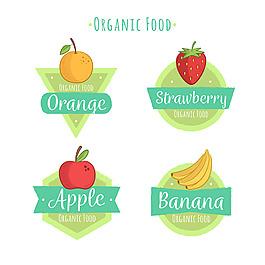 彩色手繪生態食品水果貼紙圖標