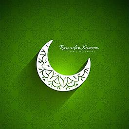 齋月綠色背景與月亮插圖