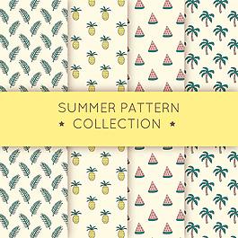 熱帶夏季元素裝飾圖案背景