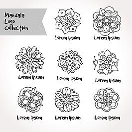 手繪風格曼陀羅裝飾花紋對稱圖形