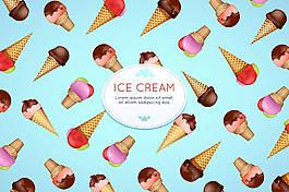 各種冰淇淋雪糕插圖淺藍色背景
