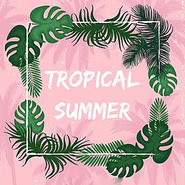 熱帶夏天主題棕櫚葉邊框粉紅色背景