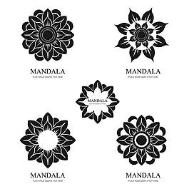 各種對稱曼荼羅圖案徽標