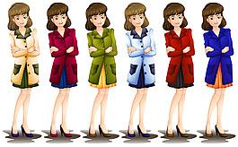 穿不同顏色大衣披風的女性角色插圖