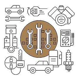 線性風格機械元件配件工具矢量素材