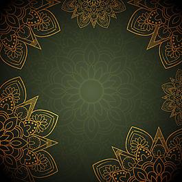 金色曼陀羅花紋圖案綠色背景