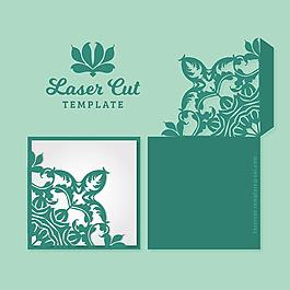 綠色方形裝飾花紋邊框