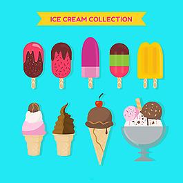 扁平風格各種冰淇淋雪糕插圖