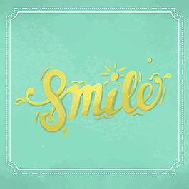 微笑英文藝術字設計綠色背景