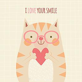 我爱你的微笑戴眼镜小猫插图背景