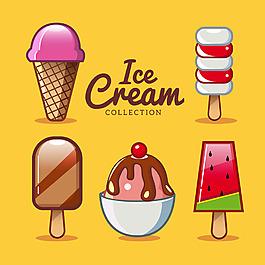 彩色卡通風格冰淇淋雪糕插圖集合