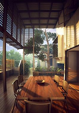 花園別墅餐廳模型設計