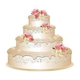 香槟色蛋糕玫瑰元素