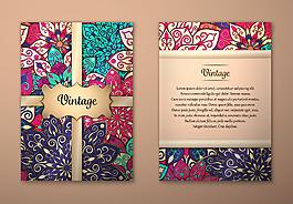 彩色藝術花紋背景宣傳單