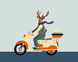 骑电动车的卡通人物插画图片