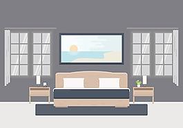 扁平化手繪臥室插畫