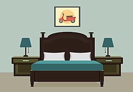 扁平化臥室效果圖