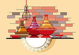 手繪矢量料理鍋