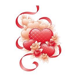 紅色心形花朵絲帶
