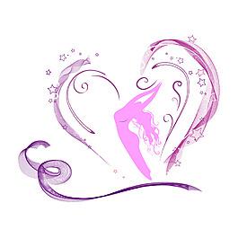 簡約紫色心形絲帶