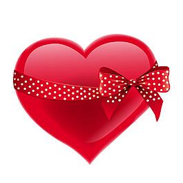 簡約紅色心形絲帶