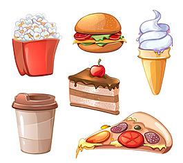 美食食物甜品冰淇淋卡通背景矢量装饰素材