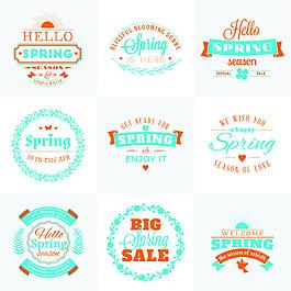 春天矢量文字图标素材