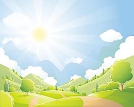 美丽的自然风景和太阳矢量