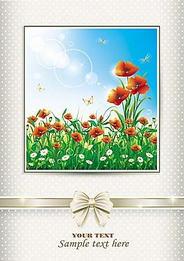 優雅的草地與鮮花藝術背景向量