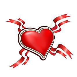 紅色心形絲帶元素