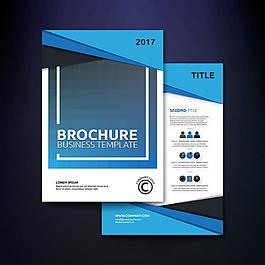 蓝色几何图形商业手册模板