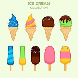 各種美味冰淇淋彩色插圖矢量素材