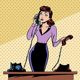 接电话的女人插画