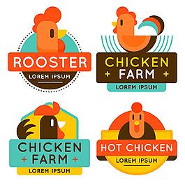各种彩色鸡肉鸡插图标志标签图标