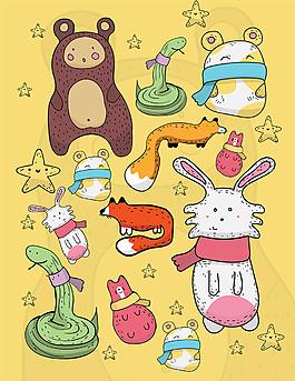 可愛的各種動物插圖集合