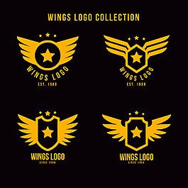 黃色帶星星的翅膀雙翼logo標志設計