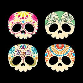 漂亮墨西哥骷髏頭骨插圖矢量素材
